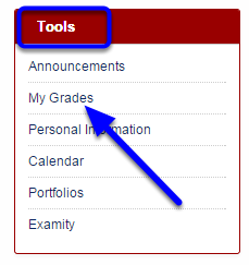 "Under the Tools module, click on ""My Grades."""