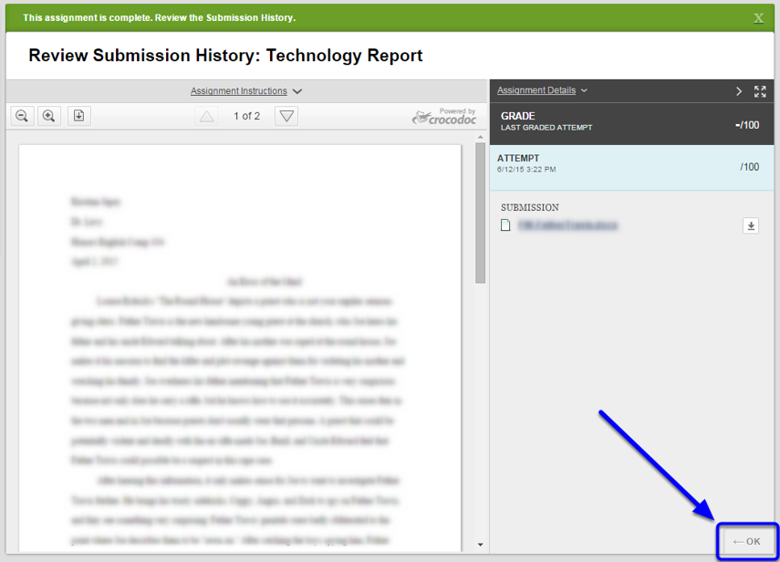 A notification confirms that your assignment is complete. Review your paper, and click OK at the bottom right corner of the page.