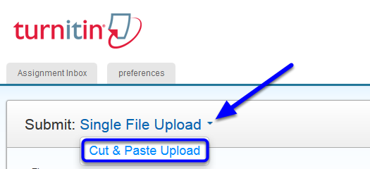 """Click the down arrow to the right of """"Single File Upload."""" Select """"Cut & Paste Upload."""""""