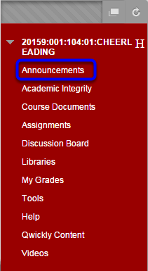 In the course menu, click on Announcements.