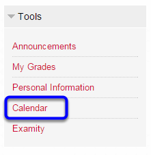 On your Blackboard homepage, locate the Tools module, and click on Calendar.