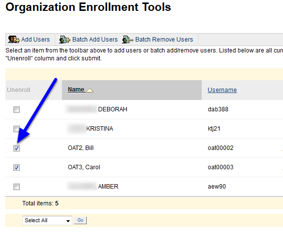 Under the unenroll column, check off the box corresponding to the user you would like to delete.