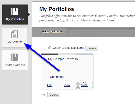 Click on the My Artifacts icon.