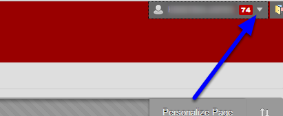 Click on the drop down arrow to the right of your name.