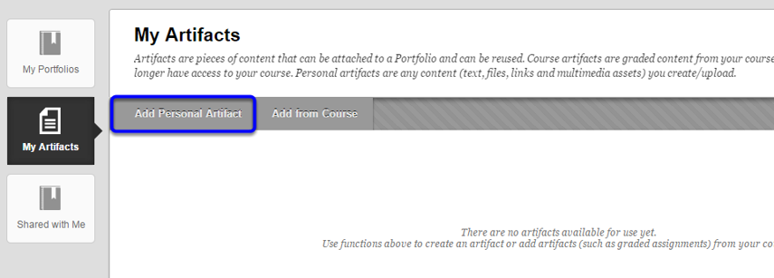"""On the My Artifacts page, click on """"Add Personal Artifact."""""""