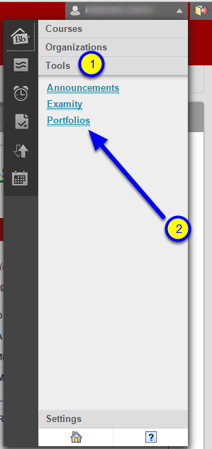 On the global navigation menu, click on tools. Then click on Portfolios.