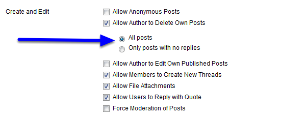 "Click next to ""All posts"" to allow students to be able to delete any post, including those to which others have replies."