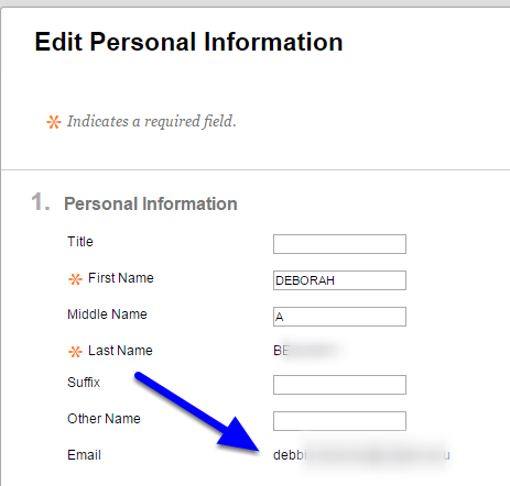 Review the email address listed in the Personal Information section.