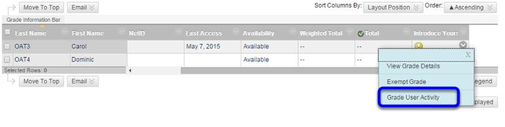 Click Grade User Activity on the pull down menu.