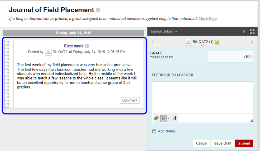 The text the student entered is displayed in the center pane.