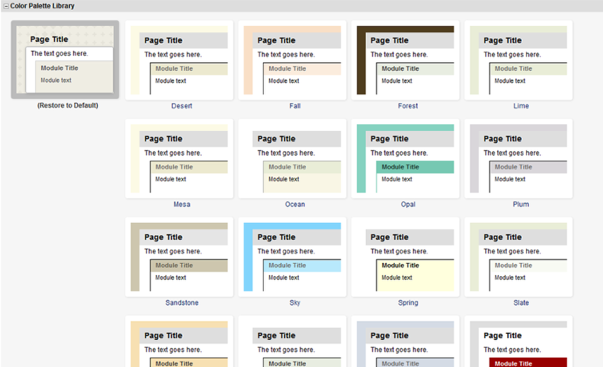Click on a theme under the Color Palette Library.