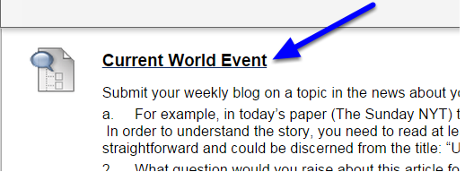 Students will now be able to click on the link within the course to access the blog.