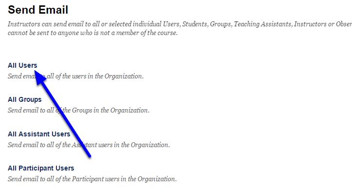 Click on All Users. Your email will be sent to all participants and leaders of the organization.
