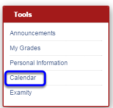 In the Tools module on your homepage, click on Calendar.