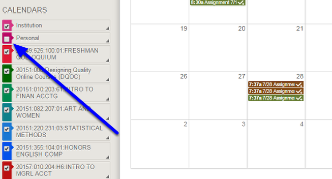 By default, all calendars are visible. To hide a specific calendar, such as your personal calendar or a course calendar, uncheck the box that corresponds with that calendar.