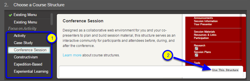 """Select a course structure from the list, and click """"Use This Structure."""""""