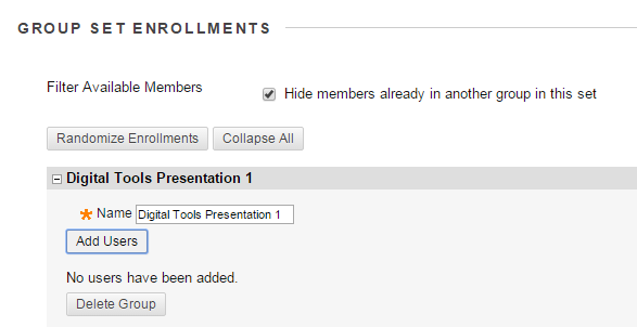 "For each group, click ""Add Users"" and the list of students will appear."