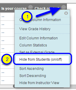 """Click the down arrow to the right of the assignment name and select """"Hide from Students."""""""