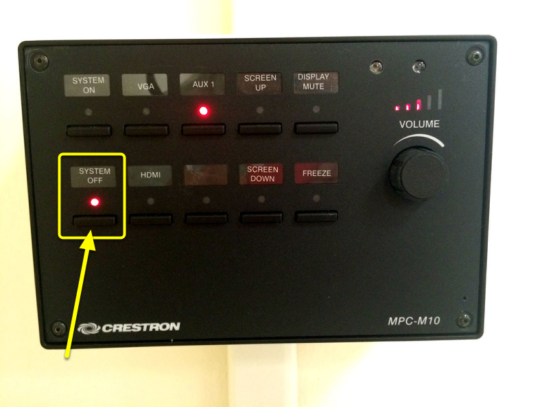 Click the System Off button to bring the screen back up and to turn the projector off.