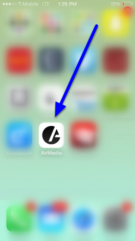 Access the AirMedia application on your phone, and login.