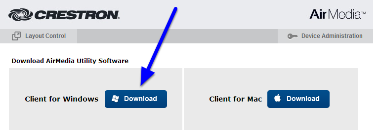 When you arrive at the Crestron site, click the Download button to download AirMedia for your Windows computer.