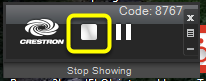 To stop showing your computer screen, locate the AirMedia Control Panel and click the Stop Showing button.