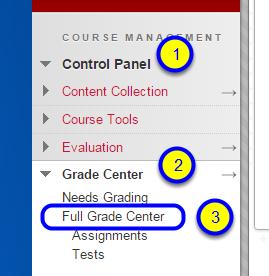 In the Control Panel, click Grade Center and Full Grade Center.