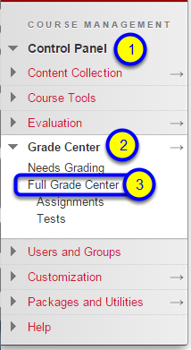 "In the expanded menu, click on ""Full Grade Center."""