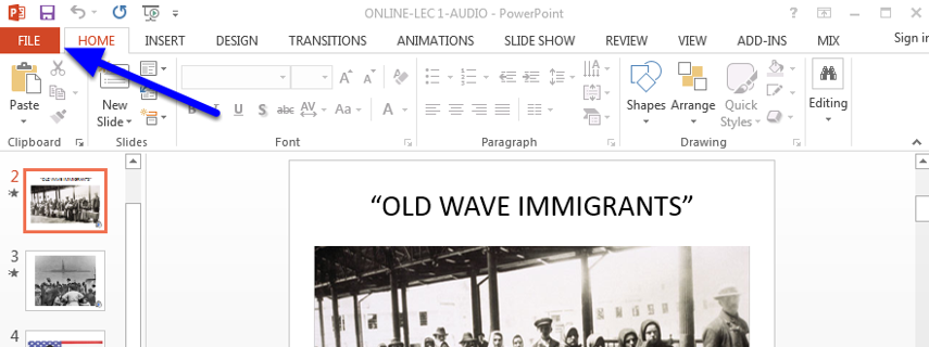 Open your PowerPoint presentation and click File in the upper left corner.
