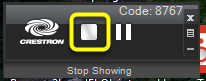 To stop showing your computer screen,click the stop showing button (square icon) on your AirMedia control panel.