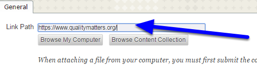 """In the """"Link Path"""" box, enter the full website address/URL."""