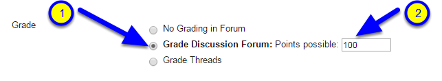 "Scroll down to Forum Settings and in the Grade section click the button next to ""Grade Discussion Forum: Points possible."" Enter the number of points for the forum."