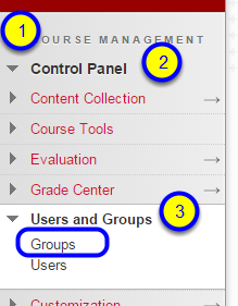 In the Course Management section of the course menu, click Control Panel, Users and Groups, and Groups.