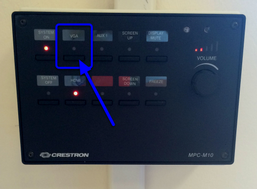 On the control panel, click on the VGA button.