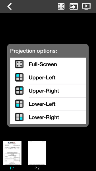 In Projection options, choose a quadrant you would like your screen to show up in (Upper-Left, Upper-Right, Lower-Left, Lower-Right).