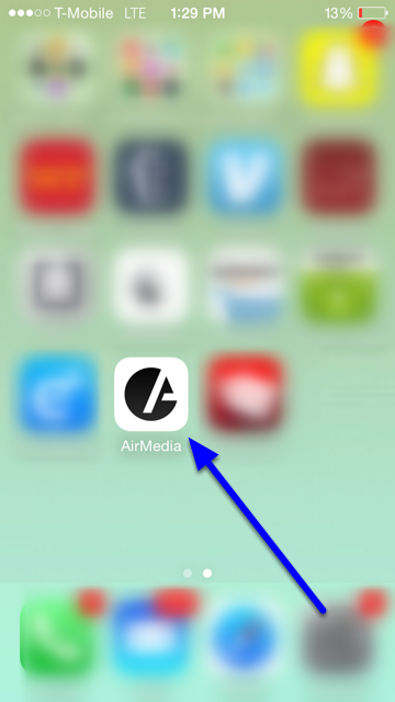 Locate your AirMedia mobile app.
