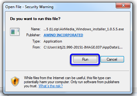 In the security warning pop-up box, click Run.