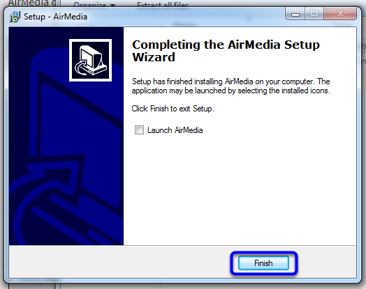 Complete the AirMedia Setup Wizard, then click Finish.