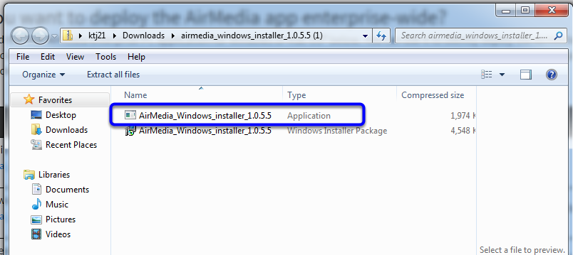 """Click on the first """"AirMedia_Windows_installer"""" option."""
