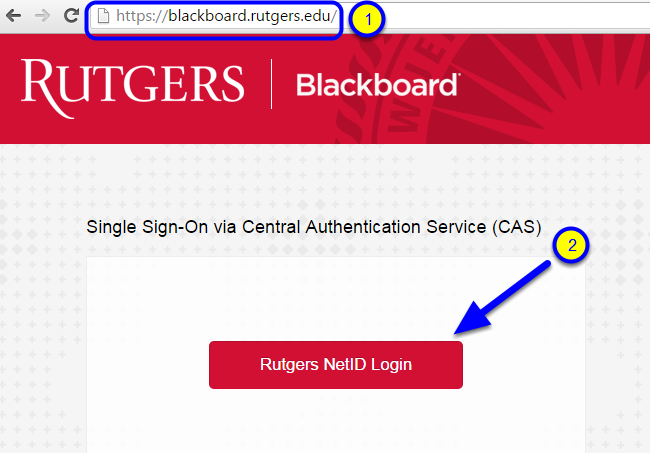To access your course(s) in Blackboard, got to https://blackboard.rutgers.edu, click Rutgers NetID Login, and enter your Rutgers NetID and password.