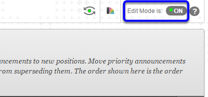 Change Edit Mode to On if it is not already by clicking on the option at the top right of the window.