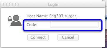 In the Login box, enter your 4-digit code found on the right hand side of the projector screen, and then click Connect.