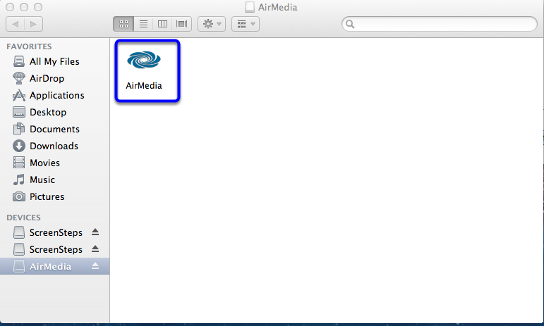 Click on the AirMedia application in the new window.