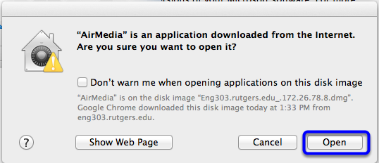 In the warning box, click Open.