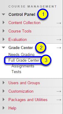 In the contextual menu, select Full Grade Center.