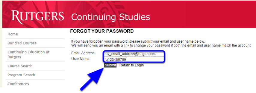 Enter your Email Address and your ANCOR Username. This is NOT the same as your Blackboard Community Login Username (see note below).