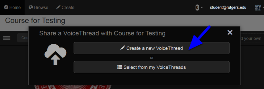 Click on the Create a New VoiceThread button.