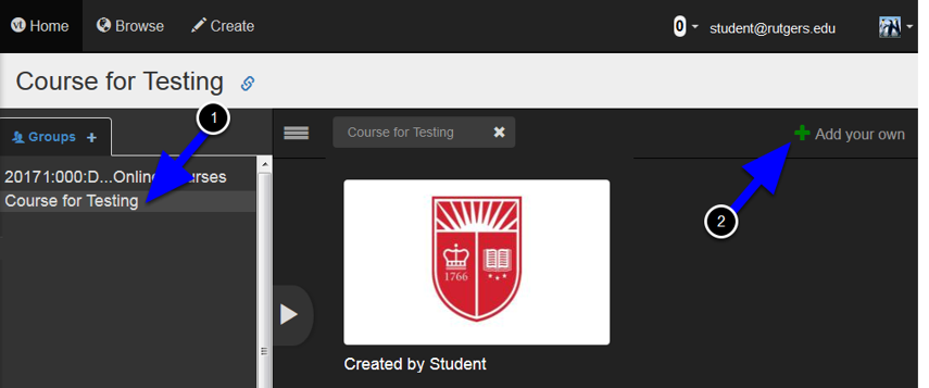 Any VoiceThreads that have been shared with you or any of your courses will already be listed.  First click into your Course at the left and then click on the Add Your Own button at the top right.