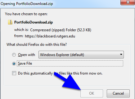 Depending on your browser, the PortfolioDownload.zip file will either automatically download to the default location on your computer or you will be prompted to save the file.  This zip can be used for backup purposes, expanded for use on a website, or submitted as an assignment.