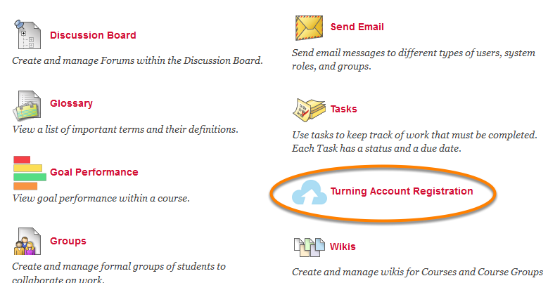 Click on the Turning Account Registration Link